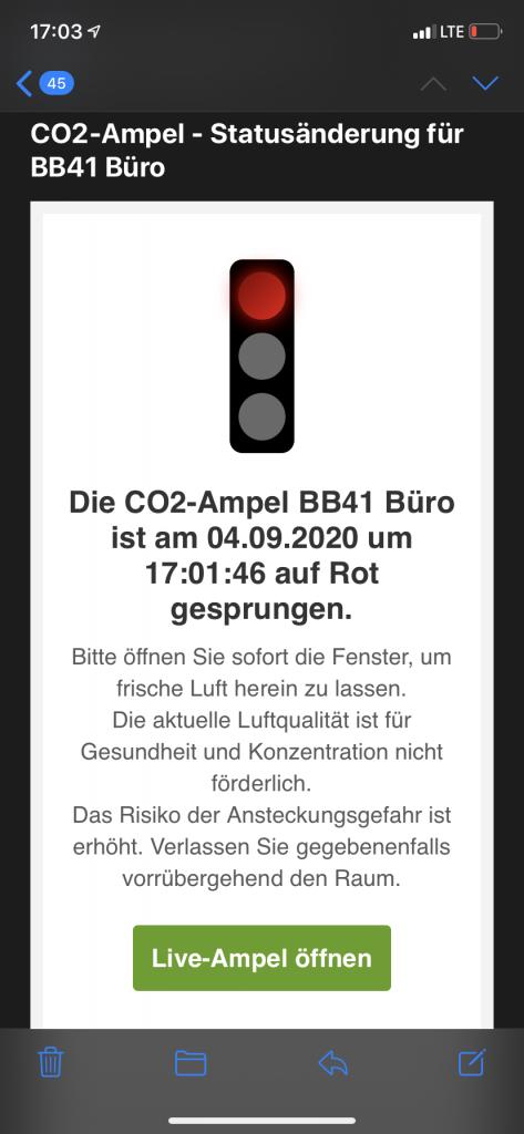 CO2-Ampel Meldung auf Handy
